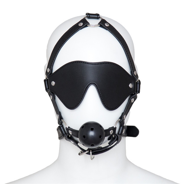 Fetish Restraint Erotic Toys Bondage Bdsm Head Harness With Blindfold Faux Leather Open Mouth Ball Gag Sex Toys For Couple