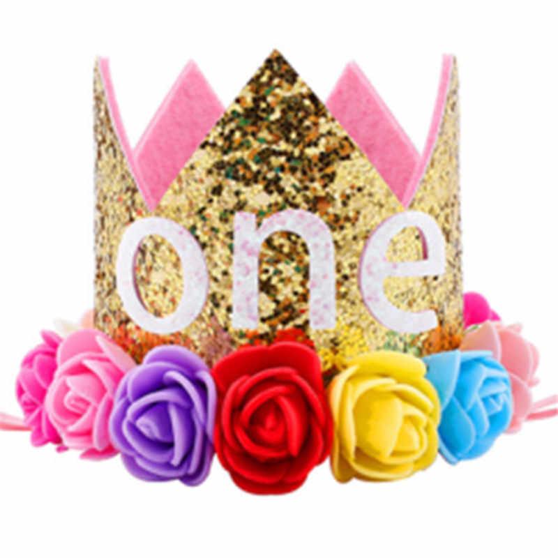 c8c5ce46b5c ... Hot Kids Baby 1st Birthday Hat Glitter Crown Flower Head Hair Band  Party Headwear Sequined Princess ...
