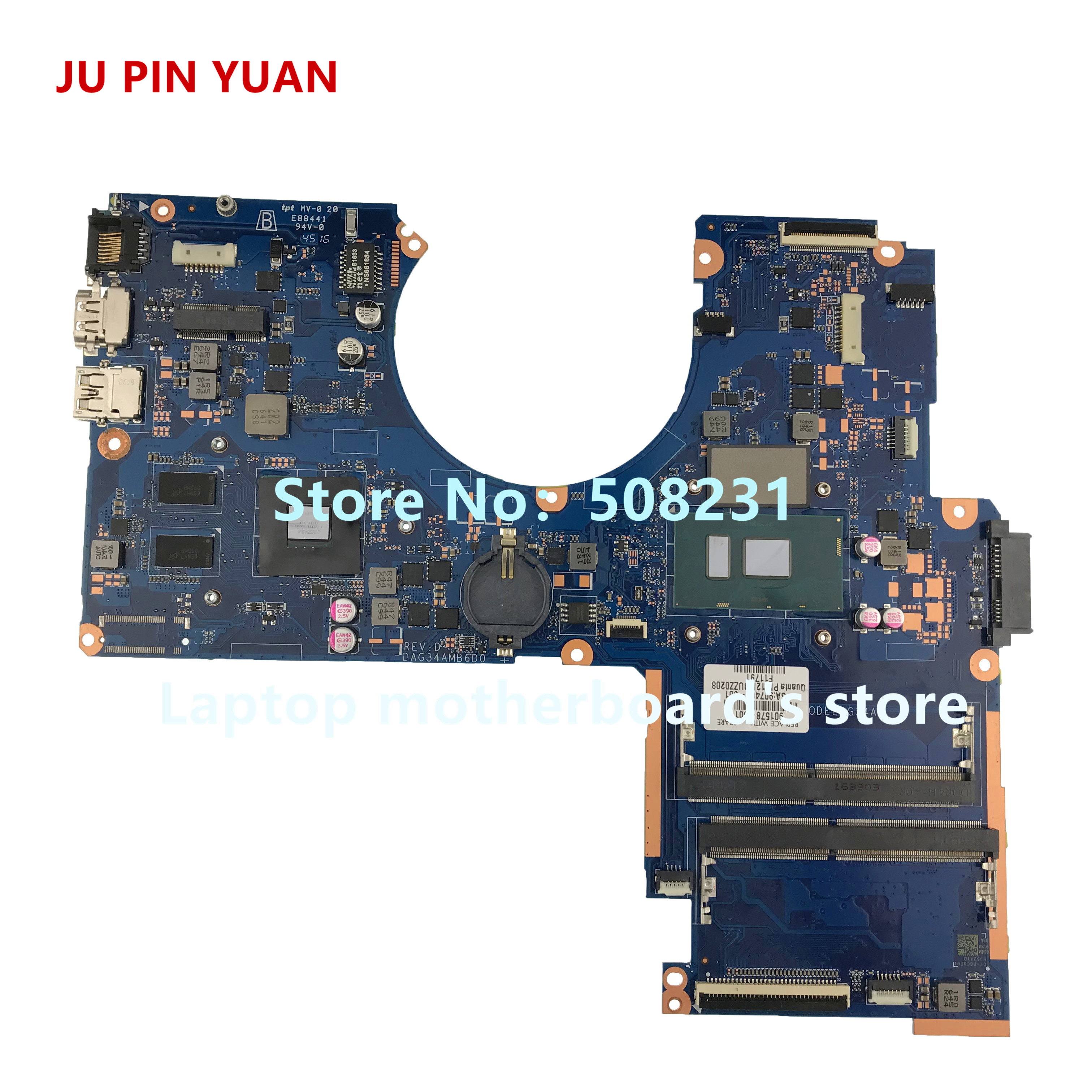 JU PIN YUANS 901578-601 G34A DAG34AMB6D0 Pour HP PAVILION NOTEBOOK 15-AU 15T-AU Ordinateur Portable Carte Mère 940 m X 2 gb i5-7200U entièrement Testé