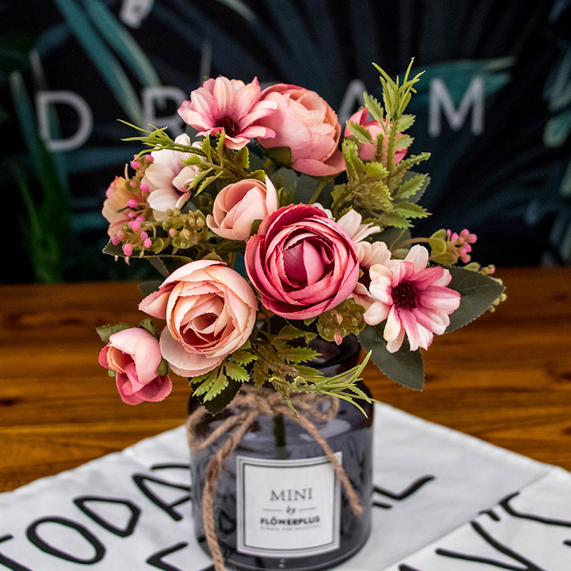 12 Heads Autumn Fake Tea Rose Silk Flower Fall Gerbera Daisy Artificial Plastic Flower for Wedding Home Accessories Decoration in Artificial Dried Flowers from Home Garden