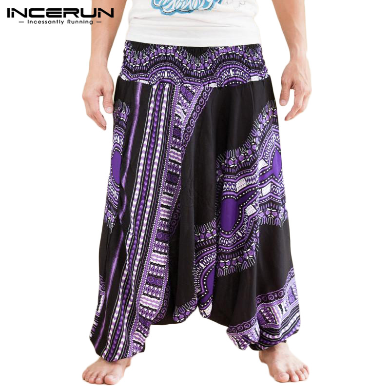 INCERUN Men Harem Pants African Ethnic Style Print Joggers Loose Drop Crotch Wide Leg Pants Casual Dashiki Trousers Men 2019 5XL