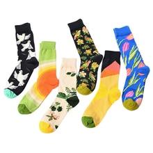 Retro Women Men Funny Painting Art Socks Meis Novelty Starry Night Vintage happy Cotton Mens Trendy Print Stockings