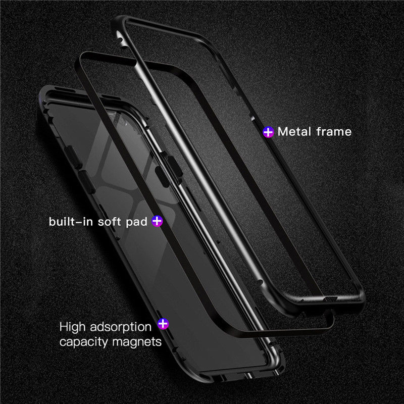 GTWIN Metal Magnetic Case for iPhone XR XS MAX X 8 Plus Tempered Glass Back Magnet Cover for iPhone 7 6 6S Plus Case front glass