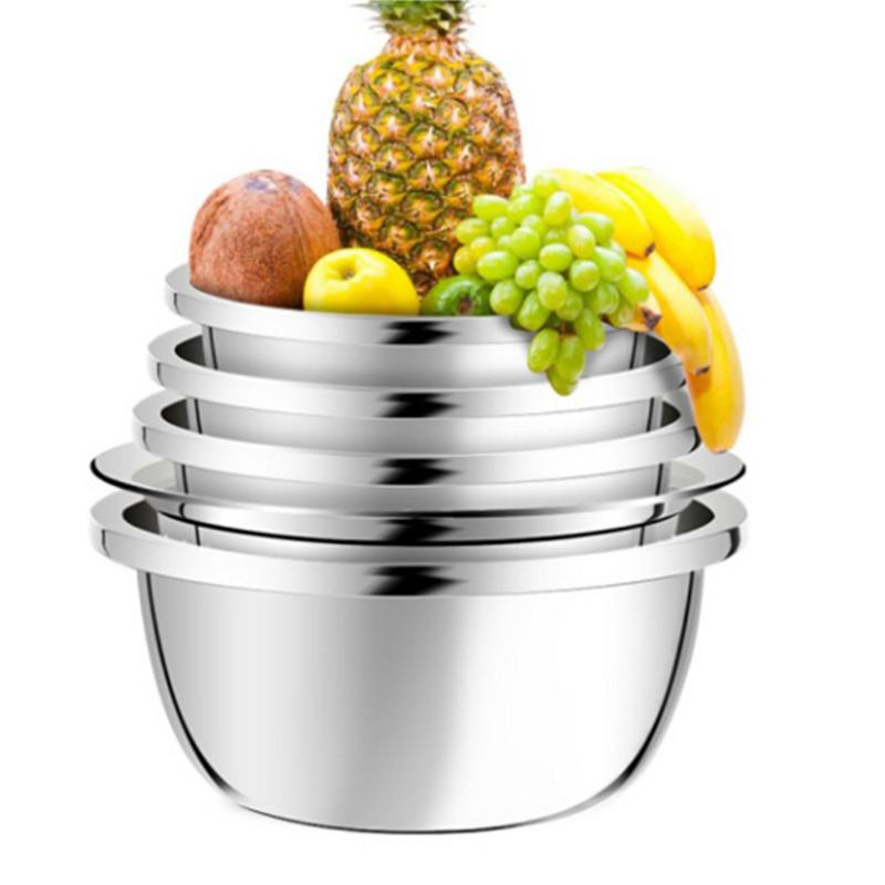 5PCS/Set Stainless Steel Basin Sieve Washing Vegetable Pots Fruit Bowls For Beating Eggs Noodles Seasoning Multifunctional