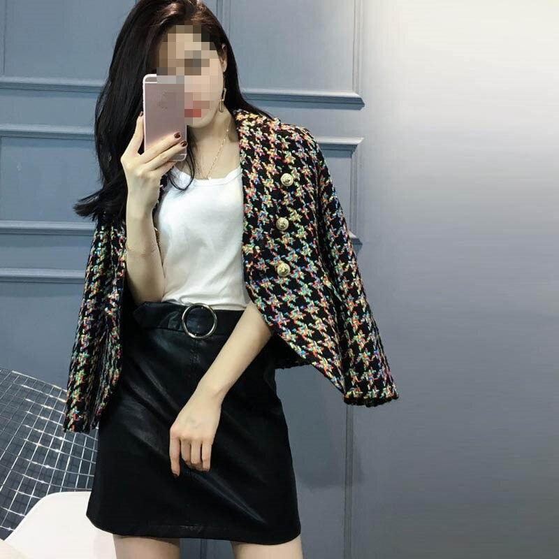 Hiver Double Mode Plaid Qualité Office Veste Lady Mince Boutonnage 2018 Multi Blazer Manteau À Automne Supérieure AFwqI
