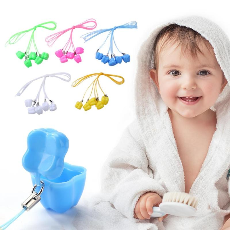 5Pcs/set Baby Milk Teeth Storage Box Plastic False Teeth Organizer Case  Accessories Pendant Child Growth Memorial Random Color