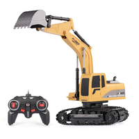 1/24 RC Excavator RC Truck Excavator Construction Tractor Metal Shovel Kids Toy with Lights & Sounds