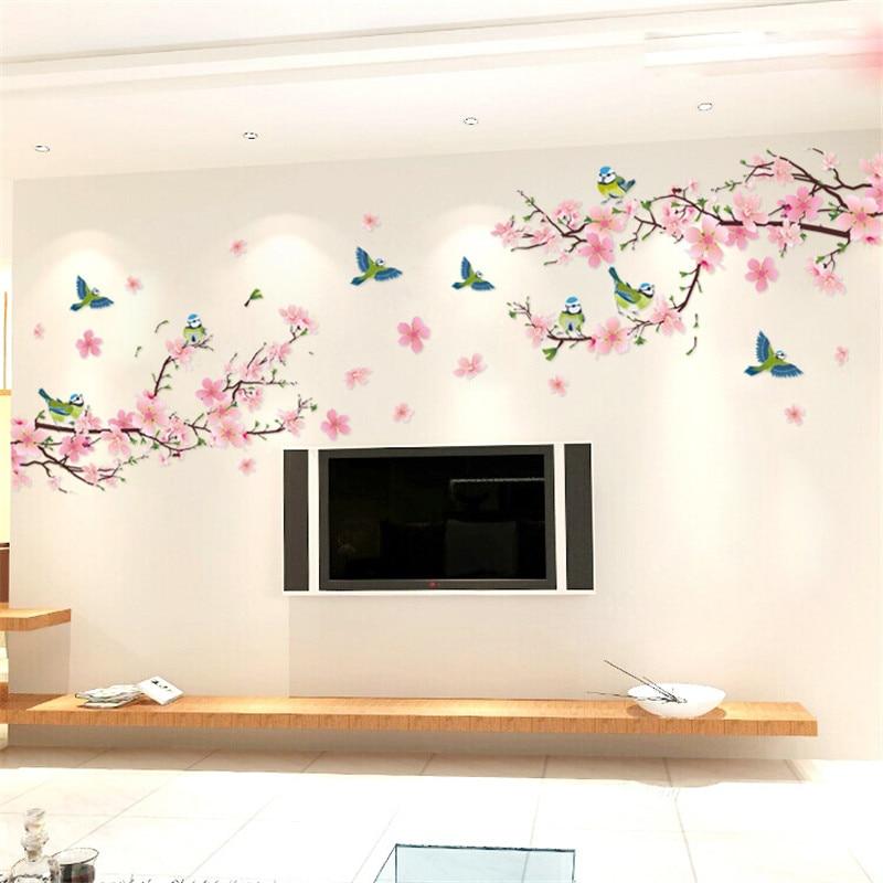 סאקורה מדבקות קיר מדבקות חדר שינה סלון DIY פרח נשלף PVC אמנות טפט יפה בית קישוטי מדבקות מדבקות