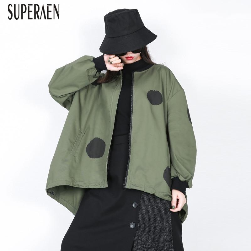 SuperAen 2018 Winter New   Trench   Coat for Women Wild Cotton Casual Pluz Size Zipper Windbreaker Irregular Print Women Clothing