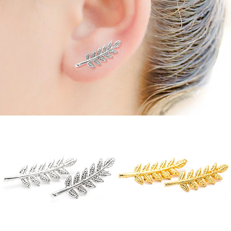 Plant Leaves Black Silver Gold Color Zinc Alloy Stainless Steel Feather Stud Earrings for Women