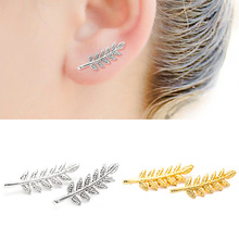 Plant Leaves Black Silver Gold Black Color Zinc Alloy Stainless Steel Feather Stud Earrings for Women fashionable flower shaped zinc alloy earrings for women golden black multi colored pair