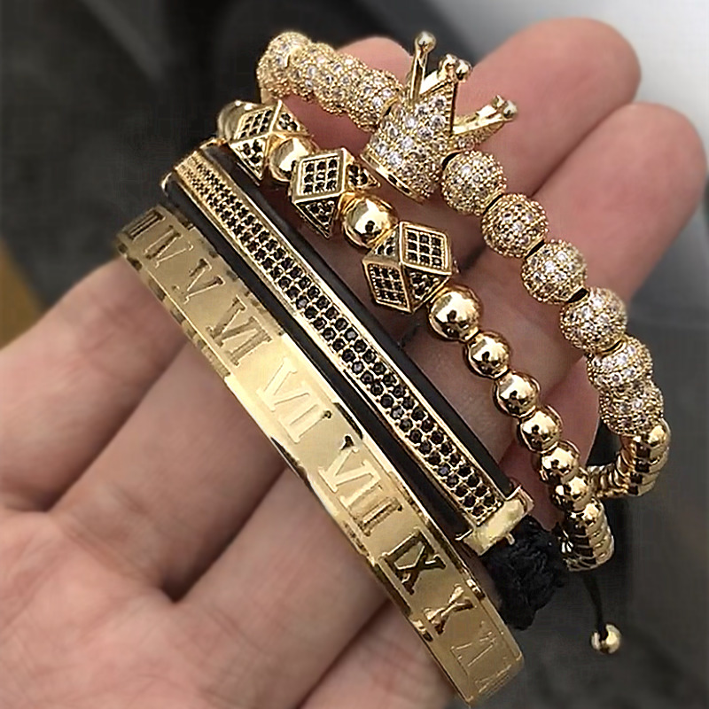 Hot Sale Classical Handmade Braiding Bracelet Gold Hip Hop Men Pave CZ Zircon Crown Roman Numeral Bracelet  Luxury Jewelry