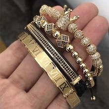 Лидер продаж, классический плетеный браслет ручной работы, золотой, хип-хоп, мужской браслет с фианитами, Корона из римских цифр, роскошные ювелирные изделия