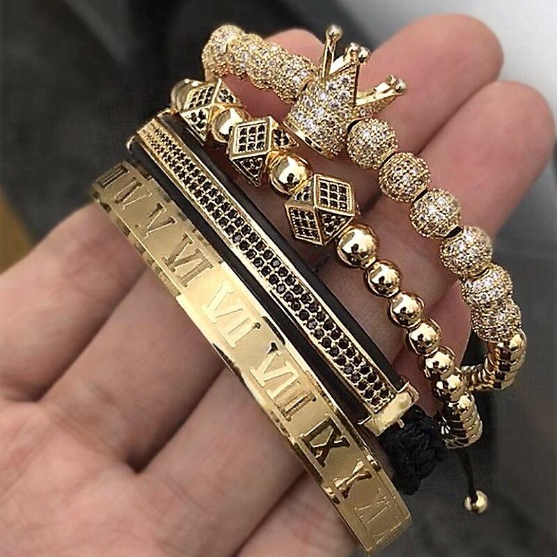 מכירה לוהטת קלאסי בעבודת יד קולעת צמיד זהב היפ הופ גברים פייב CZ זירקון כתר רומי ספרה צמיד תכשיטי יוקרה