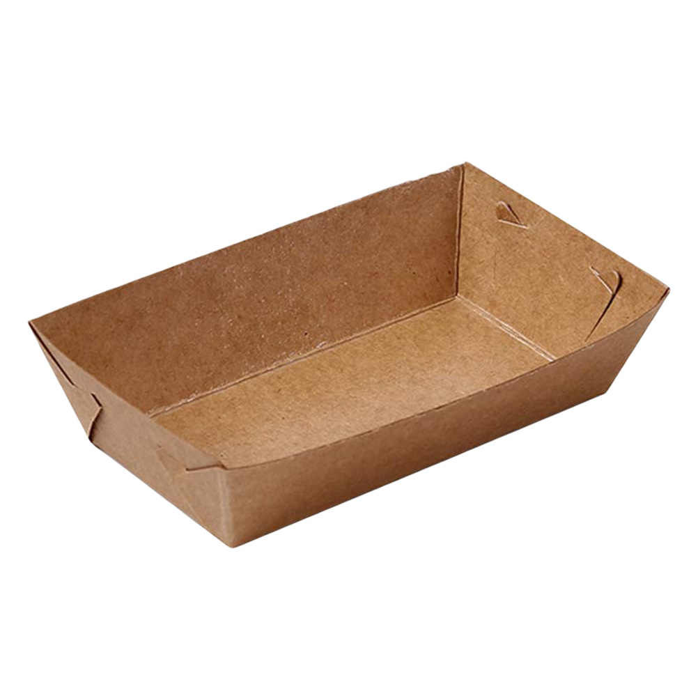 50PCS Food Serving Tray Coating Boat Shape Kraft Paper Snack Open Box Packing Tray for Caterers Food Trucks Restaurants