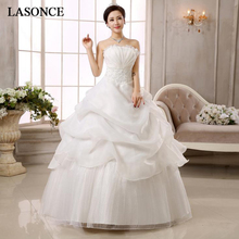 LASONCE Pleat Strapless Lace Appliques Ball Gown Wedding Dresses Off The Shoulder Tiered Backless Bridal Gowns lasonce lace appliques ball gown wedding dresses crystal strapless off the shoulder sequined backless bridal gowns
