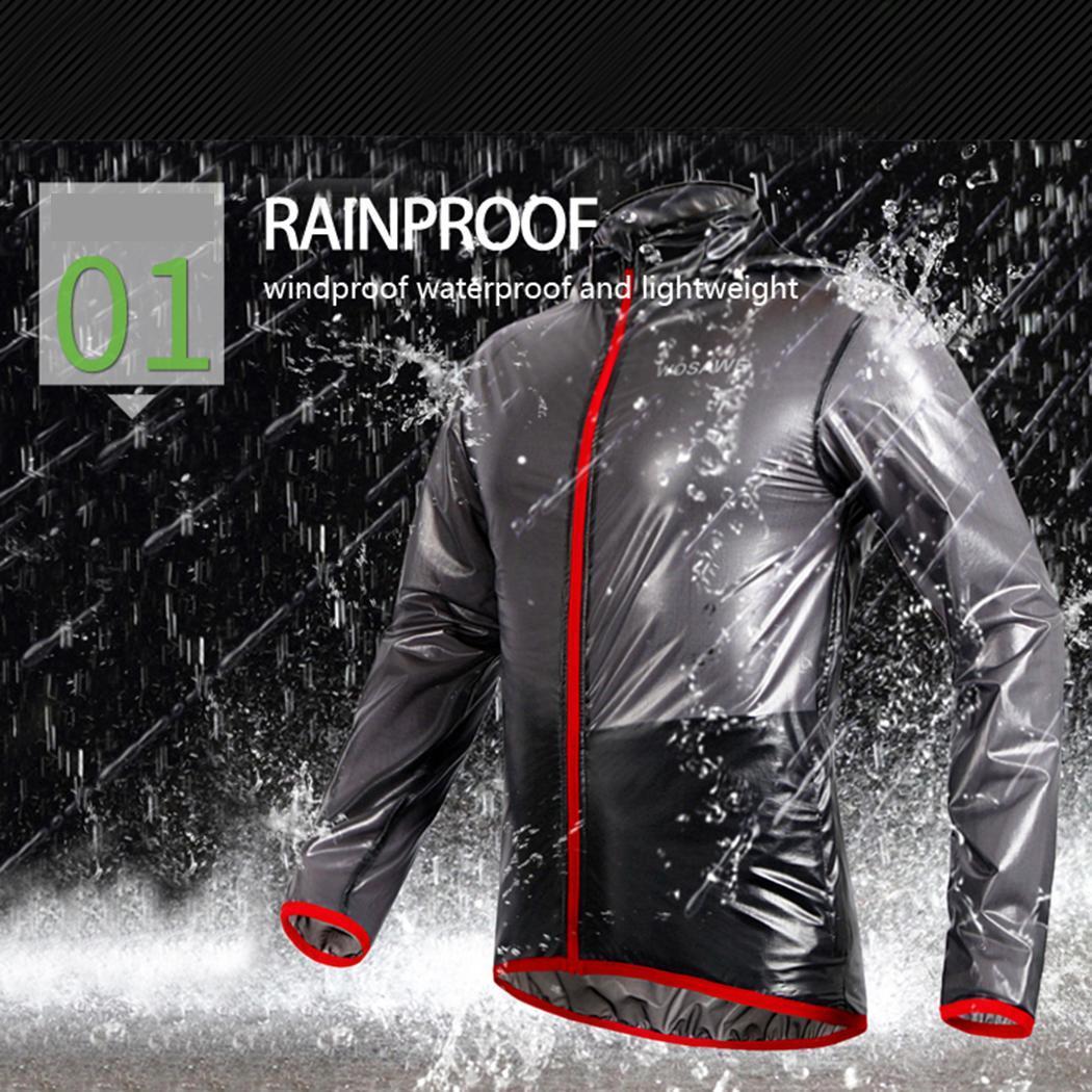 Men Casual Solid Hooded Long Sleeve Zipper Waterproof Raincoat Top Ultralight Cycling Jackets Bike Bicycle Running Jersey