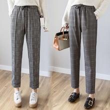 2019 spring summer new fashion female vintage classic women plaid pants elastic waist casual loose harem pants trousers pantalon