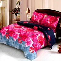 4pcs 3D Printed Bedding Set Bedclothes Chinese Rose Queen/King Size Duvet Cover+Bed Sheet+2 Pillowcases Bedding Set