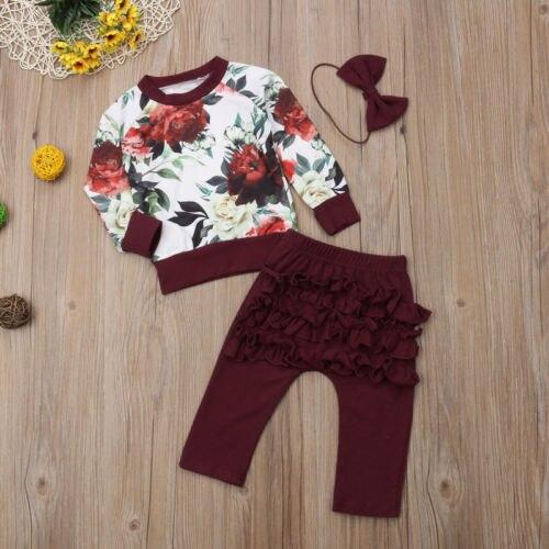 יילוד תינוק בנות בגדי חורף תלבושות בגדי פרח חולצות + לפרוע מכנסיים 3 יחידות סט בגדים