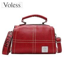 VOLESS Brand Vintage Handbags High Quality Leather Women Shoulder Crossbody Bags 2019 Zipper Letter Print Boston Bag Girls Bolsa