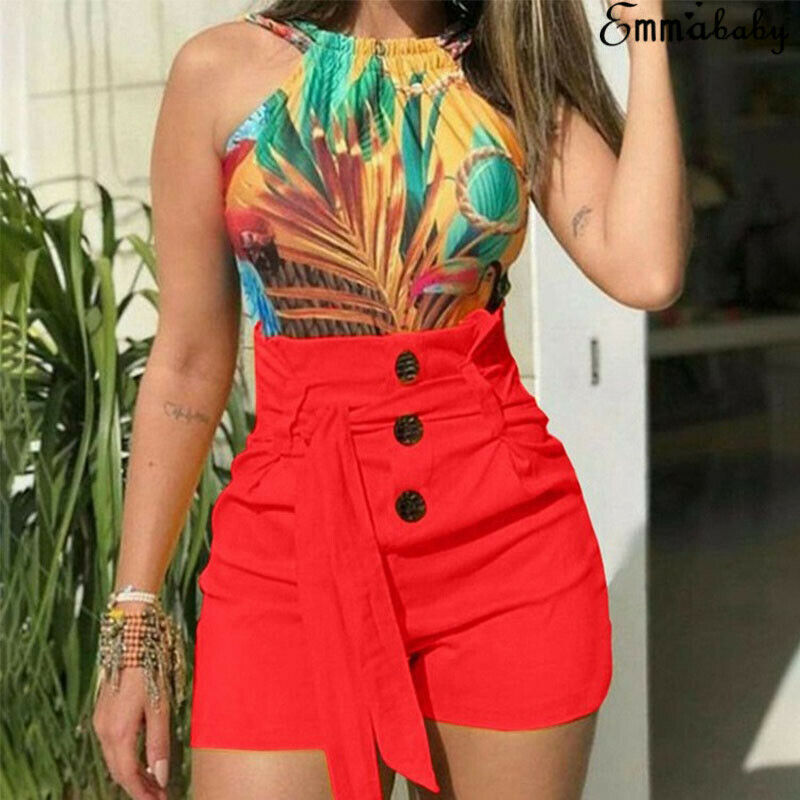 2019 New Summer Women High Waist   Shorts   Casual Buttom Bandage Beach Hot   Shorts   Size S-XL Ladies Solid color   Short   Trousers