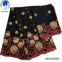 BEAUTIFICAL Black african lace fabrics Latest design embroidery cotton swiss lace fabrics nigerian voile lace stones ML6R40