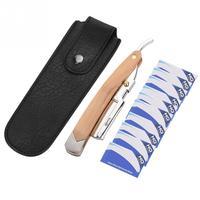 Retro Wood Handle + 10pcs Blade Head Shaving   Razor   Folding Shaver Male Face Cleansing Care Tool