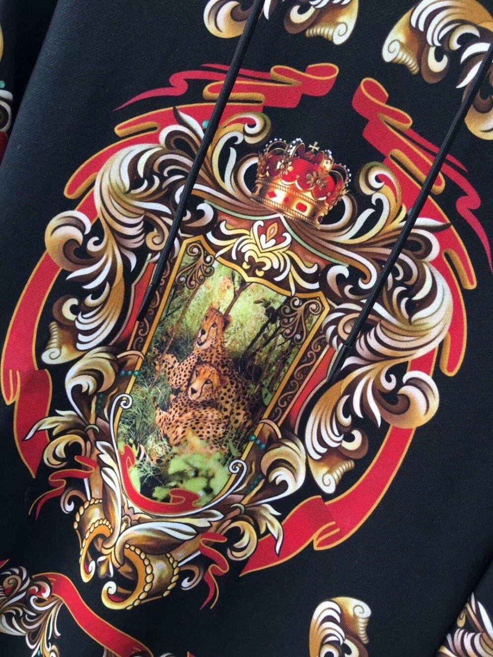 2019 Весна Новое поступление моды цветок цветочный Леопардовый принт Ретро винтажные мужские свитера и толстовки Дизайнерская одежда - 3