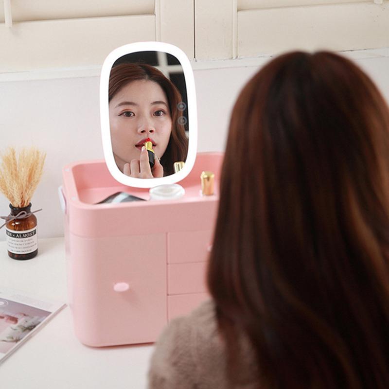 Boîte de rangement cosmétique légère de remplissage de LED avec étui cosmétique en verre multi-tiroirs