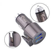 Evfun USB Car Charger 2Port With Emergency Hammer cutter Multifunctional Mobile Smartphone Adapter Universal for iPhone iPad