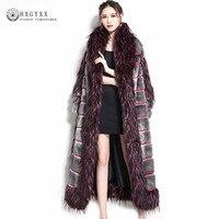 Luxury Artificial Fox Collar Faux Fur Coat Women 2019 Winter Patchwork Fluffy Jacket Long Plus Size Overcoat Warm Outwear Okd697
