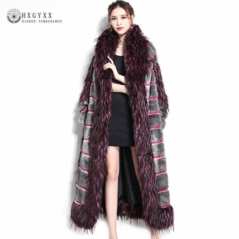 Manteau de fourrure artificielle de luxe col de renard femmes 2019 hiver Patchwork moelleux veste longue grande taille pardessus vêtements d'extérieur chauds Okd697