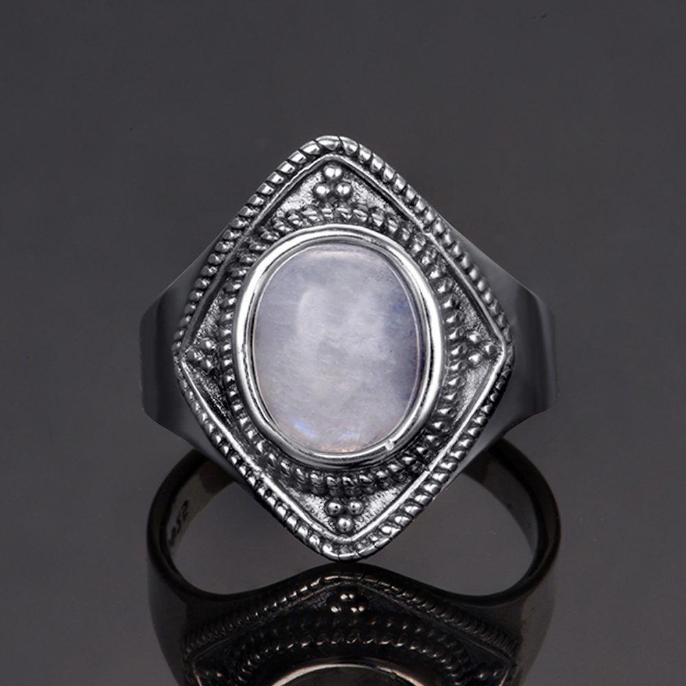 S925 sterling silver jewelry ring 8X10 oval retro texture natural moonstone ring men 39 s and women 39 s gifts wholesale in Rings from Jewelry amp Accessories
