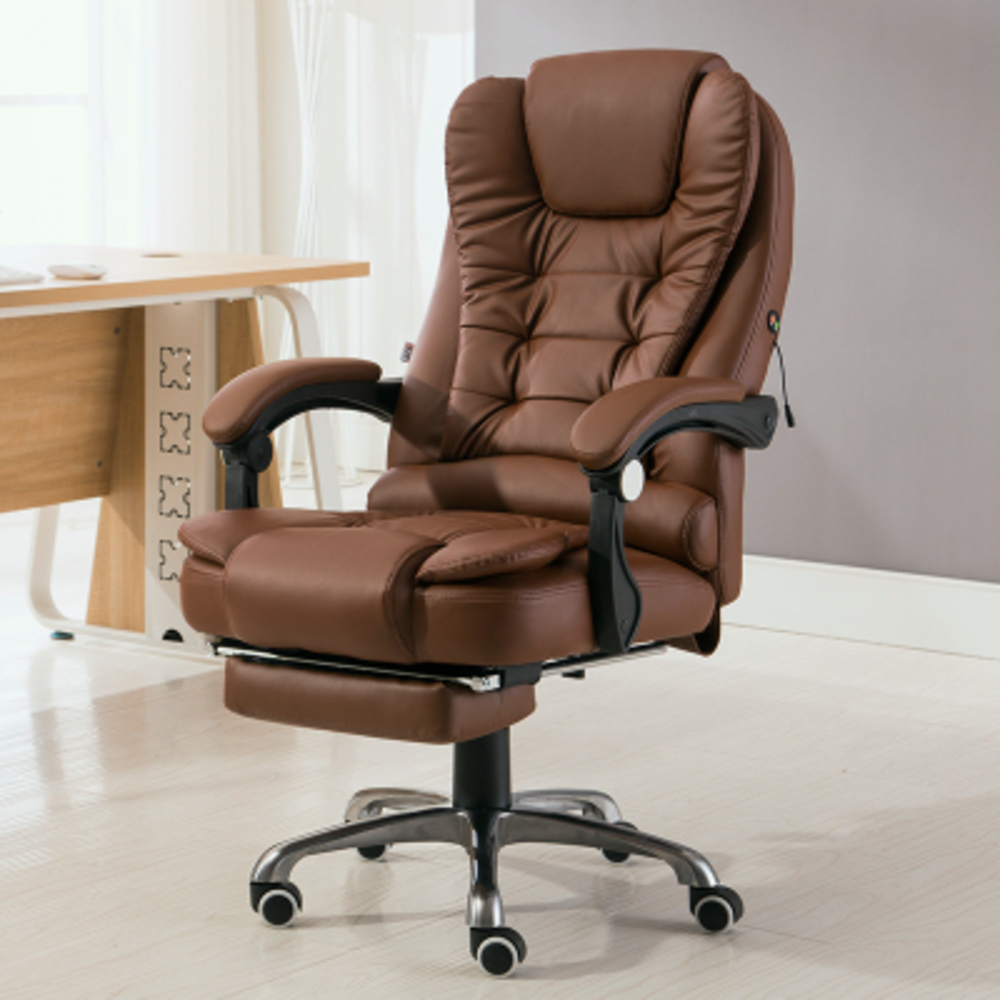 Image 2 - Home Office Computer Desk Boss Massage Chair With Footrest Armrest PU Leather Adjustable Reclining Gaming Chair-in Office Chairs from Furniture