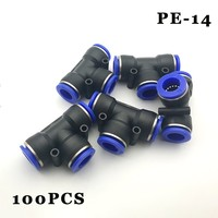 Free shipping 100pcs/lot Pneumatic connector quick insert quick nipple fast plug tee 14 PE plastic pneumatic nipple.
