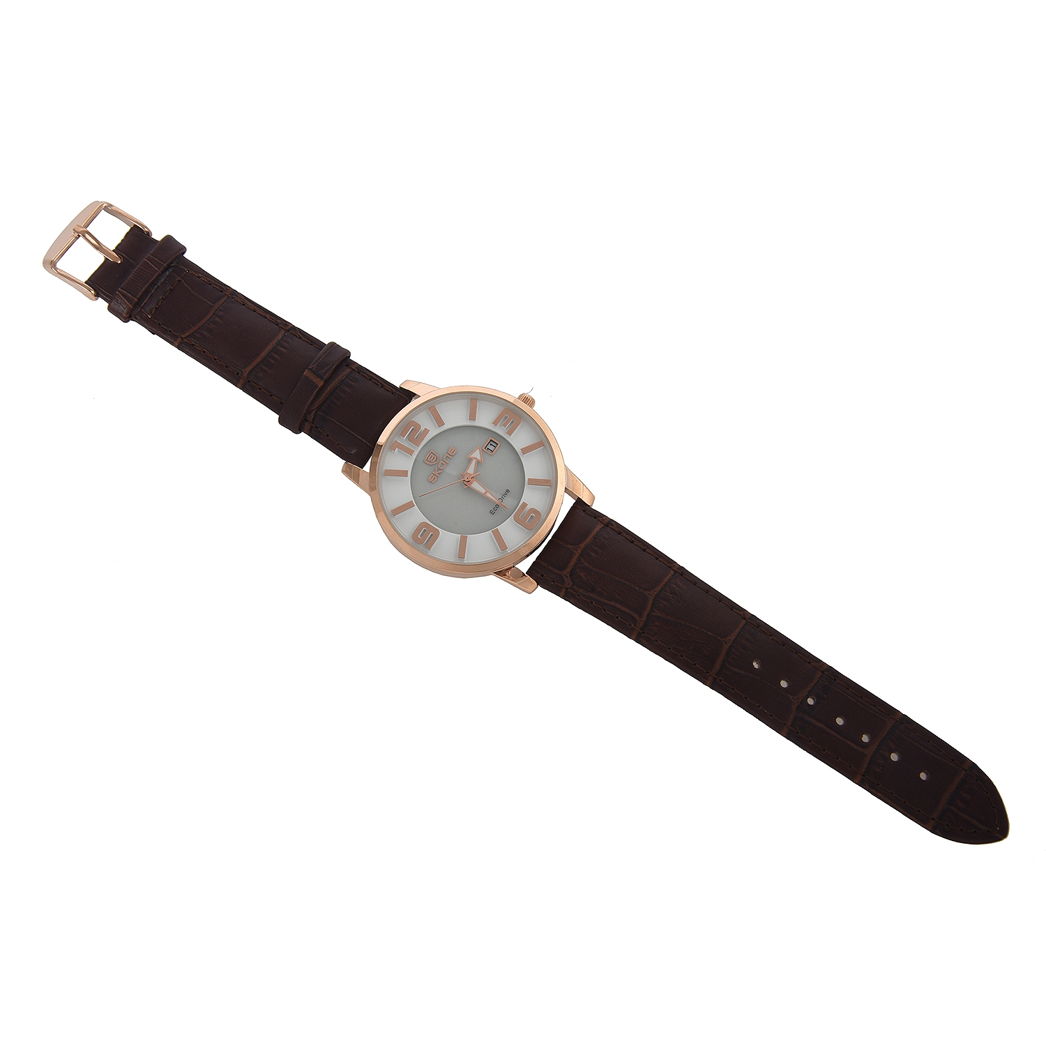 SKONE Womens Eco-Drive Watches With Leather Strap