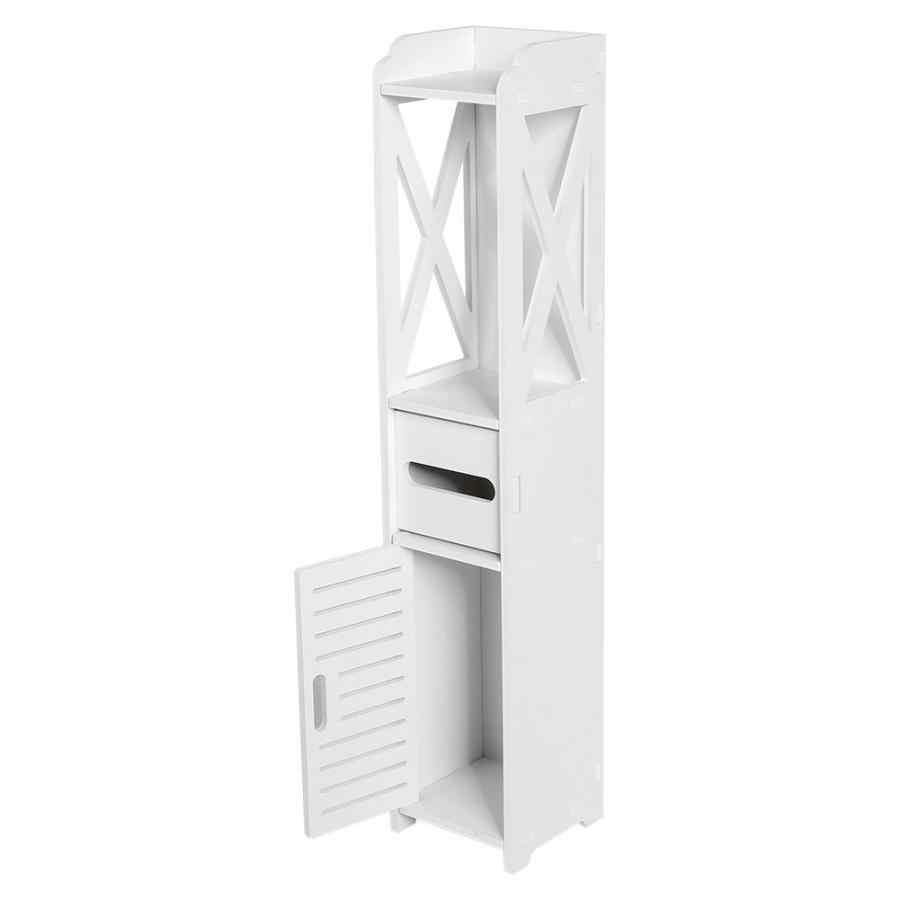 욕실 캐비닛 80X15.5X15CM 욕실 화장실 가구 캐비닛 흰색 나무 플라스틱 보드 찬장 선반 조직 스토리지 랙