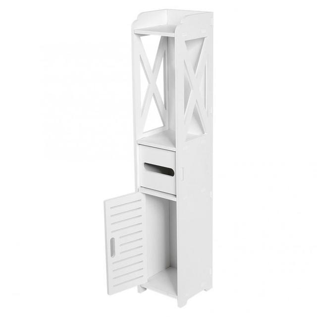 Bathroom Cabinet 80X15.5X15.5CM Bathroom Toilet Furniture Cabinet White Wood-Plastic Board Cupboard Shelf Tissue Storage Rack 1