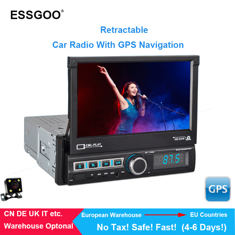 Essgoo 1 Din Car Multimedia Auto Radio Retractable Touch Screen Autoradio Stereo Video Player Support Bluetooth Rear View Camera image
