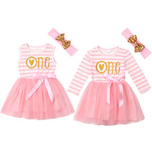 Baby One Birthday Romper Ruffles Cute Tulle Striped Dress Outfits Clothes Cute Newborn Baby Girls Dresses 0-24M