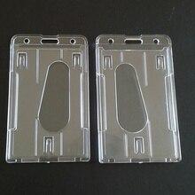 Портативный Практичный Прочный Многофункциональный значок жесткий пластиковый рабочий держатель для карт двухсторонний чехол для удостоверения личности прозрачный