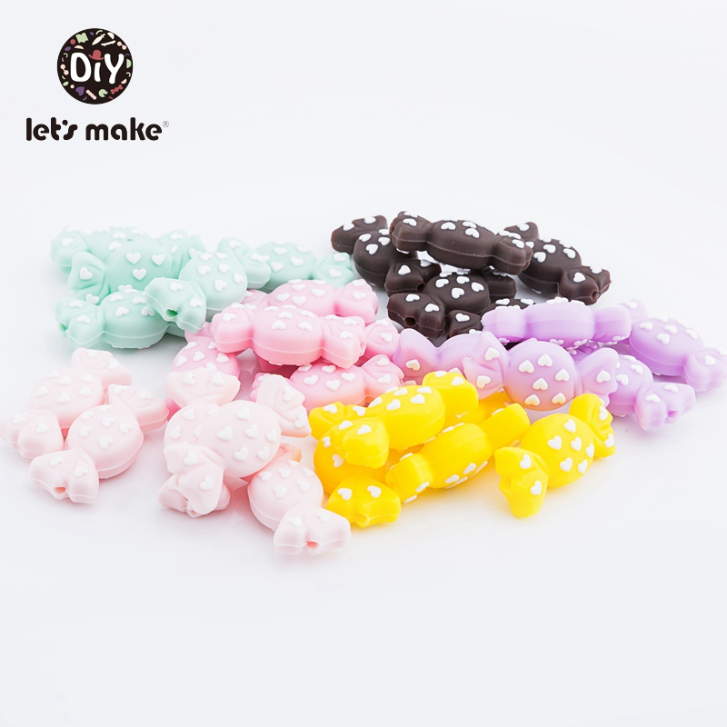 5pcs Silicone Beads Of Candy Baby Teether Food Grade Silicone Teethers BPA Free DIY Pacifier Clip Chain Teething Nursing Beads