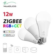 ZIGBEE Bulb E27 12W E26 Zigbee Lamp RGB CCT Dual White Zigbee Light Link Smart Lamp App Control LED Bulb AC 110V 220V 230V e27 275w water proof anti explosion infrared heat lamp bulb ac 220v