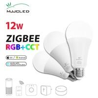 ZIGBEE Bulb E27 12W E26 Zigbee Lamp RGB CCT Dual White Zigbee Light Link Smart Lamp App Control LED Bulb AC 110V 220V 230V