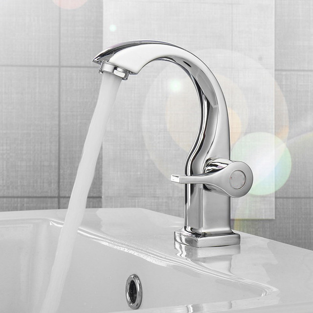 Xueqin Chrome Deck Mount Single Handle Bathroom Basin Faucets Kitchen Single Hole Bath Tap Mixer Tap Cold And Hot Water Tap