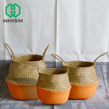 hot deal buy whism s/m/l flower pot handmade seagrass wickerwork flowerpot rattan garden planters basket foldable flower pots decorative