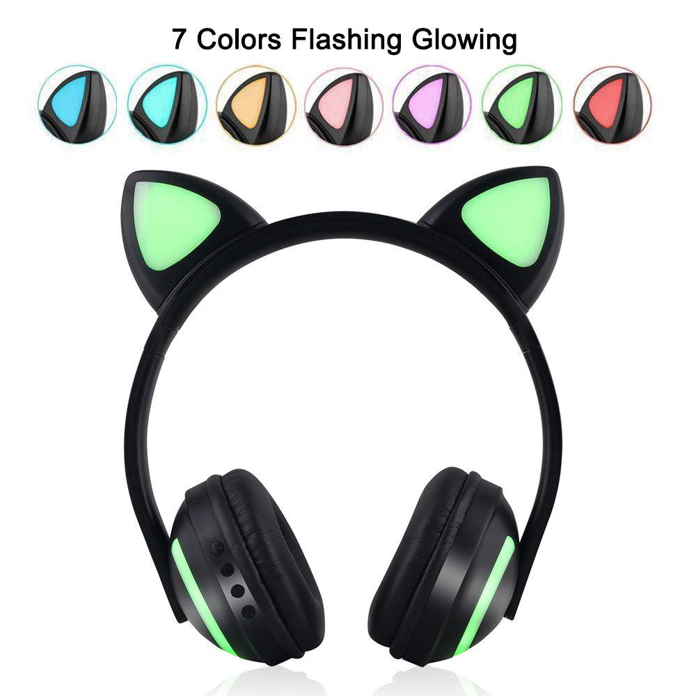 Ostart Foldable Flashing Glowing cat ear headphones Wireless Bluetooth Earphone with LED light For PC Laptop Mobile Phone