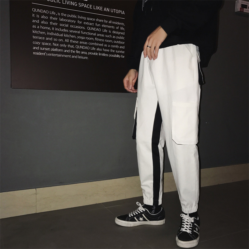 2019 Spring And Autumn New Sports Overalls Hong Kong Style Loose Elastic Colorless Pants Black / White / Gray M-2XL
