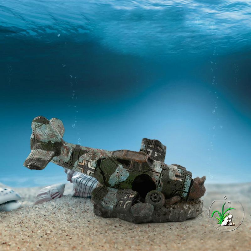 Mini Simulated Resin Aircraft Model Arts Crafts For Aquarium Fish Tank Landscaping Escape Cave Hideaway For Fishes Shrimps
